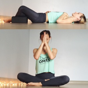 Spend 7-10 minutes resting in any comfortable Savasana position (Supta Baddha Konasana pictured here).