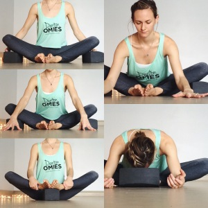 Set yourself up in butterfly pose (legs in a diamond shape). You can do any of the variations on the left of the picture. Take several breaths to lower you down into the fold. Use props to support yourself in any way that feels appropriate for your needs.