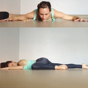 On the belly, open the arms out to the sides like cactus arms. Begin to slide the left knee up toward the left elbow. Rest for several minutes then move to the other side.