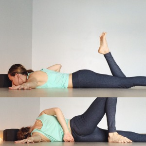On the belly, stretch the left arm out to the side (90 degrees from the body). Bend the right knee and use the right hand to push yourself onto the left side body. Plant the right foot behind the left leg and completely relax your head. You can release the right arm behind the back if you do not need it to balance.