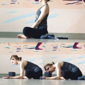 Now, place the blanket under the hips so that your pelvis tips slightly forward. Take several breaths upright and then lower forward when it feels appropriate.